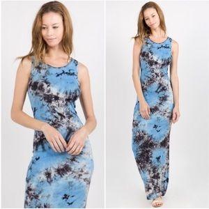 Blue Tie Dye Maxi Dress Boho Black White
